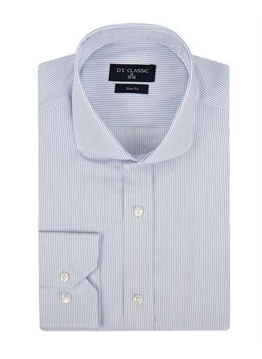 D'S Damat D'S Damat 9He02Ph33185 Dik Yaka Uzun Kol Slim Fit Çizgili Erkek Gömlek Beyaz